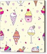 Seamless Pattern Delicious Ice Cream Acrylic Print