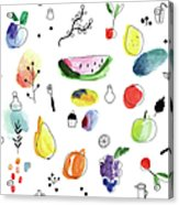 Seamless Pattern With Fruits, Berries Acrylic Print