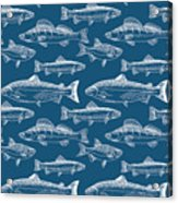 Seamless Pattern With Hand Drawn Fish Acrylic Print