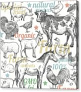 Seamless Pattern With Livestock Acrylic Print