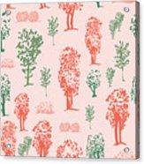 Seamless Tree Pattern, Deciduous Trees Acrylic Print