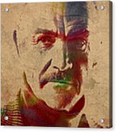 Sean Connery Actor Watercolor Portrait On Worn Distressed Canvas Acrylic Print