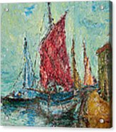 Seaport Painting Acrylic Print by Russell Shively