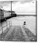 Seaside Heights Beach In Black And White Acrylic Print by John Rizzuto