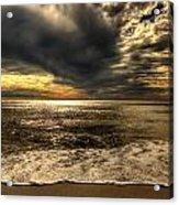 Seaside Sundown With Dramatic Sky Acrylic Print