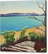 Seaside Island Beach With Flowers Acrylic Print