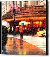 Season's Greetings - Yellow And Blue Umbrella - Holiday And Christmas Card Acrylic Print