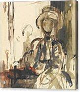 Seated Figure Woman Seated, Wearing Acrylic Print