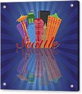 Seattle Abstract Skyline Reflection Background Illustration Acrylic Print