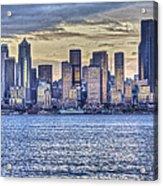 Seattle At Twilight From Alki Beach Acrylic Print