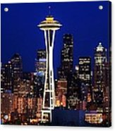 Seattle By Night Acrylic Print