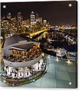 Seattle City Skyline And Marina At Night Acrylic Print