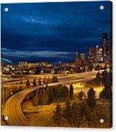 Seattle City Skyline At Blue Hour Acrylic Print