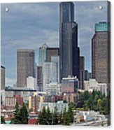 Seattle City Skyline At Rush Hour Acrylic Print