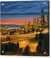 Seattle Cityscape After Sunset Acrylic Print