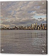 Seattle Cityscape In Clouds  Acrylic Print