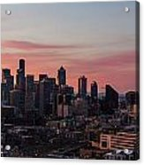 Seattle Cityscape Sunrise Acrylic Print