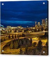 Seattle Downtown Skyline And Freeway At Twilight Acrylic Print