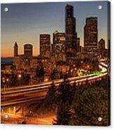 Seattle Downtown Skyline At Dusk Acrylic Print