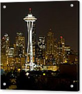 Seattle Downtown Skyline Evening Panorama Acrylic Print