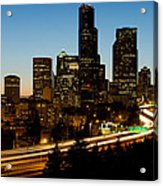 Seattle Downtown Skyline Evening View Acrylic Print