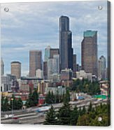 Seattle Downtown Skyline On A Cloudy Day Acrylic Print