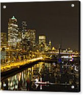 Seattle Downtown Waterfront Skyline At Night Reflection Acrylic Print