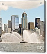 Seattle Downtown With Fireboat Acrylic Print