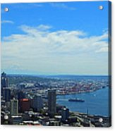 Seattle Harbor And Mt Rainier From Space Needle Acrylic Print