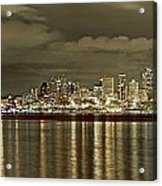 Seattle Lights At Night From Alki Acrylic Print
