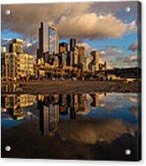 Seattle Pier Sunset Clouds Acrylic Print