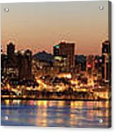Seattle Skyline At Dawn Along Puget Sound Acrylic Print