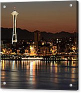 Seattle Skyline At Night By The Pier Panorama Acrylic Print