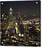 Seattle Skyline At Night Acrylic Print