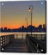 Seattle Skyline From The Pier At Sunrise Acrylic Print