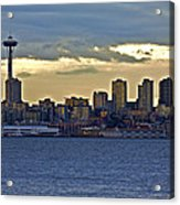 Seattle Skyline In Twilight Acrylic Print