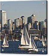 Seattle Skyline With Sailboats Acrylic Print