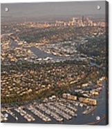 Seattle Skyline With Shilshole Marina Along The Puget Sound  Acrylic Print