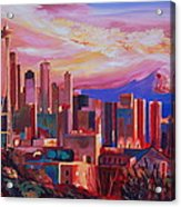 Seattle Skyline With Space Needle And Mt Rainier Acrylic Print