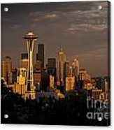 Seattle Skyline With Space Needle And Stormy Weather Acrylic Print