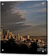 Seattle Skyline With Space Needle And Stormy Weather With Mount  Acrylic Print