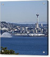 Seattle Space Needle And Fire Boat Acrylic Print