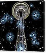 Seattle Space Needle Blue Stars Acrylic Print
