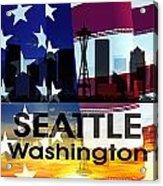 Seattle Wa Patriotic Large Cityscape Acrylic Print