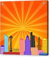 Seattle Washington City Skyline Panorama Acrylic Print