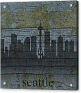 Seattle Washington City Skyline Silhouette Distressed On Worn Peeling Wood Acrylic Print