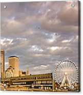 Seattle Waterfront Bathed In Golden Hour - Seattle Skyline - Puget Sound Washington State Acrylic Print