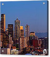 Seattle Winter Evening Panorama Acrylic Print