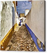 Secluded Cobblestone Street In The Medieval Village Of Obidos IIi Acrylic Print