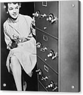 Secure Filing Cabinet Acrylic Print by Underwood Archives